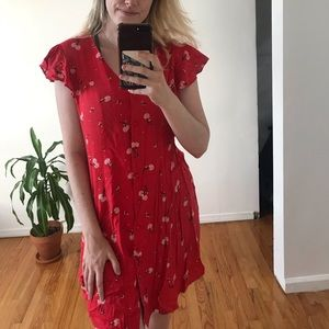 Abound red floral babydoll dress